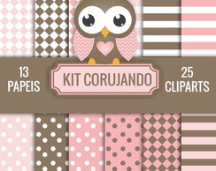 KIT DIGITAL CORUJANDO PAPEIS + CLIPARTS