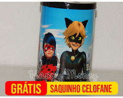 Cofrinho Miraculous Lady Bug e Cat Noir