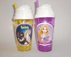 Copo Chantilly com Canudo de 500ml Rapunzel