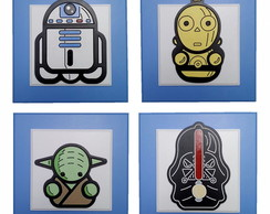 Quarteto Quadro Star Wars R2D2 C3PO Darth Vader Yoda Sabre
