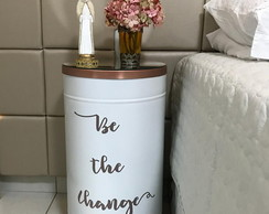 Tambor Tonel Aparador Decorativo Be the Change com espelho