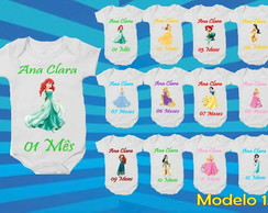 KIT 12 BODY MESVERSARIO PRINCESAS DISNEY BODIE, BODI