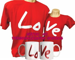 kit camiseta love + par de canecas de porcelana