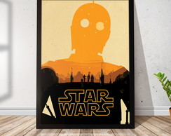 Quadro Decorativo com Moldura Star Wars C3PO 21x30