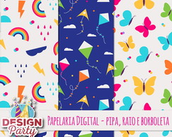 Kit Digital - Papel Pipa, raios e borboletas