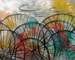 Quadro abstrato original pintado Bike, medida 70x180 Cd 1106