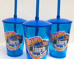 Copo Twister 500ml com canudo Hot Wheels