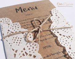 Menu Kraft Papel Rendado 150unid