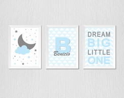 Quadro com nome personalizado, dream big little one