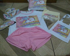 Noite do pijama 1 kit unicornio
