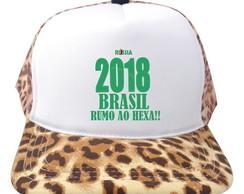 b9b92b3cc0 Bone Trucker Branco e Onca Russia 2018 Brasil Copa Bn241