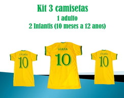 Camiseta do Brasil kit3 Camisetas