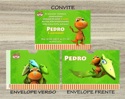 Convite DINO TRAIN Mais Envelope DINO TRAIN