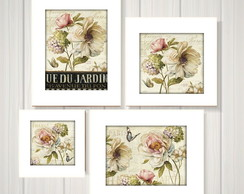 Kit 4 Quadros Decorativos Estampa Floral Moldura Branca