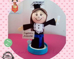 Mini boneca formanda com placa