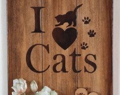 Porta chaves ripado I love cats