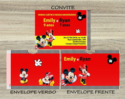 Convite MICKEY E MINNIE Mais Envelope MICKEY E MINNIE