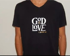 Camiseta Masculina God is Love Evangélica Blusa Moda Gospel