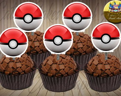50 toppers para doces Pokebola