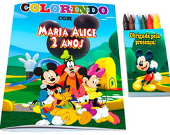 Kit Colorir casa do Mickey Livro + Giz