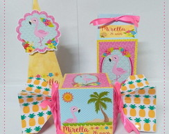 Kit Festa Personalizado Flamingos Tropical