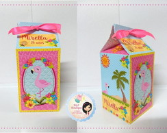 Caixa Milk Personalizada - Flamingos Tropical