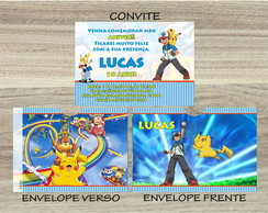 Convite POKEMON Mais Envelope POKEMON