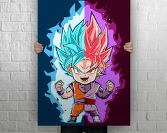 Quadro Poster Gigante 1,0 x 0,70, Dragon Ball, Goku vs Black