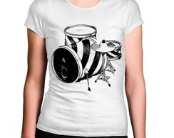 6e94a9419b Camiseta Feminina Bateria Preta e Branca no Elo7