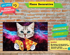 Placa Decorativa - Gato pizza - REF0437