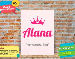 Placa Decorativa - Significado do nome - Alana