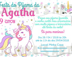 Arte Digital Convite Festa do Pijama Unicórnio