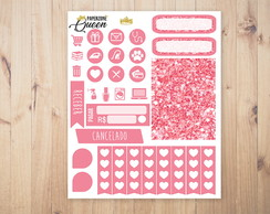 Adesivo Planner - Kit colors - Rosa