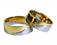 ... Aliança de Ouro 18k Bodas Ouro Branco com Brilhante - (Par) 3cee12192f