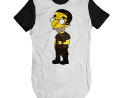 Camiseta Long Line Drake Simpson camisa swag masculina long