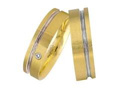 7cbc1356d6055 ... Aliança de Ouro 18k com Friso em Ouro Branco - (Par)