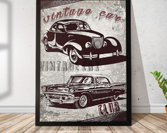 Quadro Decorativo com Moldura Vintage Car Club RR019