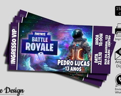 CONVITE DIGITAL FORTNITE BATTLE ROYALE TIPO INGRESSO