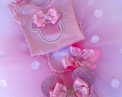 Kit tutu minnie rosa completo