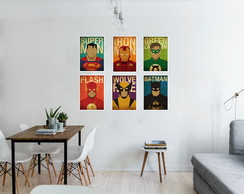 Poster Batman Flash Green superman Wolverine