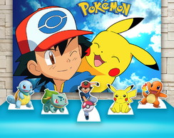 Kit Festa Prata Painel + Display Pokemon