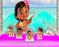 Kit Festa Prata Pianel + Display Moana Baby