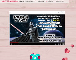 Convite Animado Vídeo Star Wars com Música e Fotos