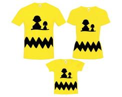 ... Kit Camiseta Pai Mãe Filho Charlie Brown e Snoopy 887699fbd4cf6