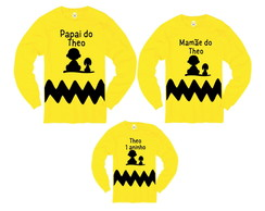 Kit Camiseta Manga Longa Charlie Brown e Snoopy Com Nome