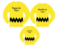 Kit Camiseta Manga Longa Charlie Brown Com Nome