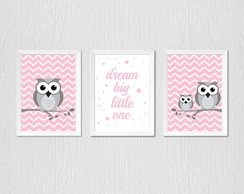 Quadro Corujinha rosa chevron, dream big little one