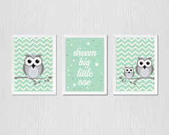 Quadro Corujinha verde chevron, dream big little one