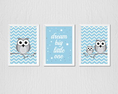 Quadro Corujinha azul chevron, dream big little one