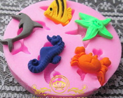 Molde de Silicone Fundo do mar Mini para chocolate
